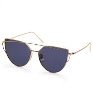 Gold Frame Black Reflective Lenses Sunglasses